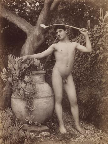 WILHELM VON GLOEDEN (1856-1931) Group of 3 photographs of nude male figures posing en plein air in Taormina, Sicily.