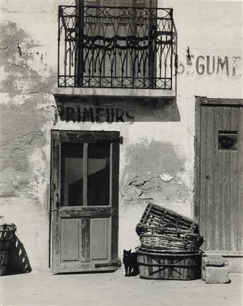 PAUL STRAND (1890-1976) Shop, Le Bacares, Pyrénées, Orientales, France (with black cat).
