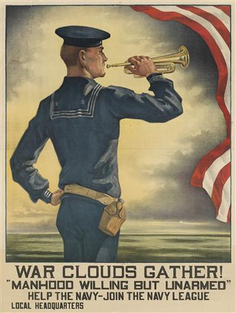 HAZEL ROBERTS (1883-1966). WAR CLOUDS GATHER! / MANHOOD WILLING BUT UNARMED. 1916. 25x19 inches, 63x48 cm.