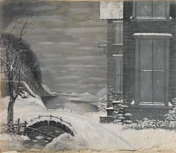 (STUDIO BACKDROP) A large hand-painted backdrop from a supposed tintypists or ambrotypists studio, displaying a snowy Winter Wonderla