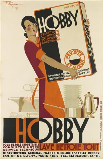 HENRY LE MONNIER (1893-1978). HOBBY / LAVE NETTOIE TOUT. 1931. 78x51 inches, 200x129 cm. Les Affiches Lutetia, Paris.