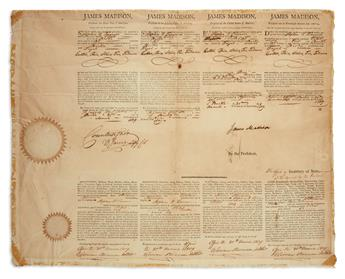 JAMES MADISON. Partly-printed Document Signed, as President, 4-language ships papers for the brig Pilot....