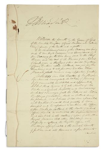 WILLIAM IV, KING OF ENGLAND. Document Signed, WilliamR, establishing the Office of Works for Scotland and appo...