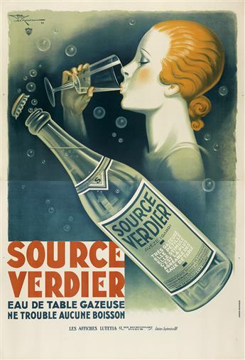 HENRY LE MONNIER (1893-1978). SOURCE VERDIER. 1931. 92x63 inches, 235x160 cm. Les Affiches Lutetia, Paris.