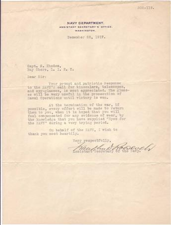 ROOSEVELT, FRANKLIN D. Typed Letter Signed, as Assistant Secretary of the Navy,