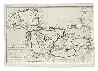 (GREAT LAKES.) Bellin, Jacques Nicolas. Carte des Lacs du Canada