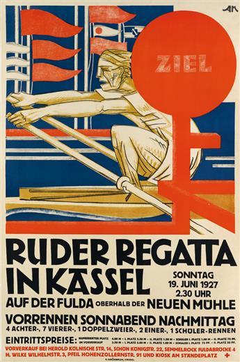 AM (MONOGRAM UNKNOWN). RUDER REGATTA IN KASSEL. 1927. 35x23 inches, 90x59 cm. H. Grünbaum, Kassel.