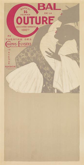 GEORGES LEPAPE (1887-1971). BAL DE LA COUTURE PARISIENNE. Poster and proof. 1925. Each approximately 31x16 inches, 80x40 cm. Edia, Pari