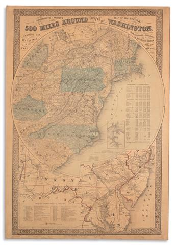 COLTON, GEORGE WOOLWORTH. Map of the Country 500 Miles Around the City of Washington, Showing the Seat of War in the East.