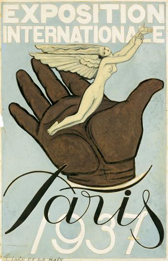GEORGES LEPAPE (1887-1971). EXPOSITION INTERNATIONALE / PARIS. Original gouache maquette. 1937. 47x31 inches, 119x79 cm.
