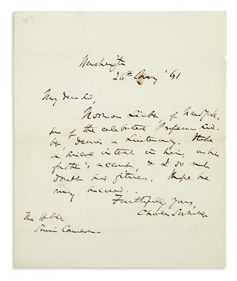 (CIVIL WAR.) CHARLES SUMNER. Autograph Letter Signed, as Senator, to Secretary of War Simon Cameron, recommendin...
