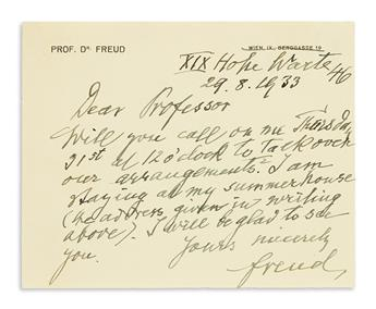(SCIENTISTS.) FREUD, SIGMUND. Autograph Letter Signed, Freud, to Dear Professor, in English,