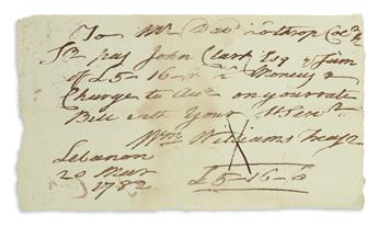 (AMERICAN REVOLUTION.) WILLIAM WILLIAMS. Autograph Document Signed, Wm Williams Treasr,