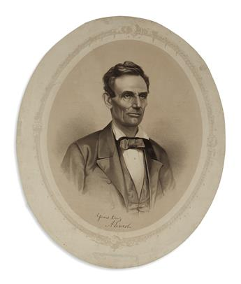 (PRINTS--1860 CAMPAIGN.) Unusual and unidentified Lincoln campaign portrait with President Washington on verso.
