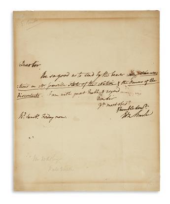 BURKE, EDMUND. Brief Autograph Letter Signed, EdmBurke, to bookseller James Dodsley: