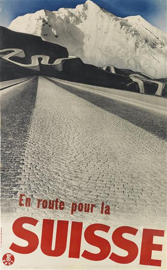 HERBERT MATTER (1907-1984). EN ROUTE POUR LA SUISSE. 1935. 40x24 inches, 101x63 cm. Fretz Frères, Zurich.
