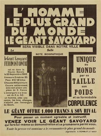 DESIGNER UNKNOWN. LHOMME LE PLUS GRAND DU MONDE / LE GÉANT SAVOYARD. 32x23 inches, 81x59 cm. A. Humblot et Cie, Nancy.