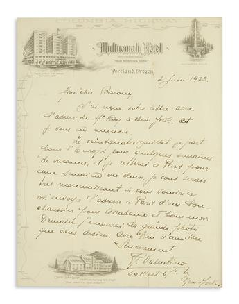 VALENTINO, RUDOLPH. Autograph Letter Signed, R.Valentino, to My dear Barony, in French,