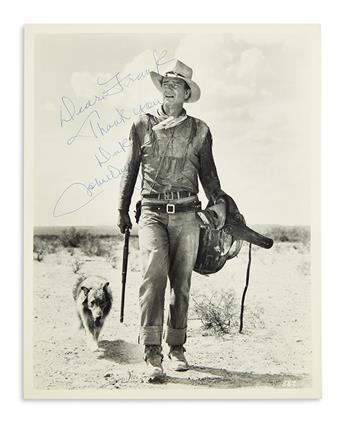 WAYNE, JOHN. Photograph Signed and Inscribed, Dear Frank / Thank you / Duke / JohnWayne,