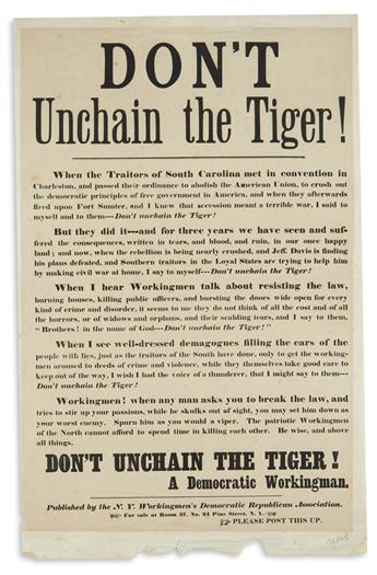 (CIVIL WAR--NEW YORK.) Don't Unchain the Tiger!