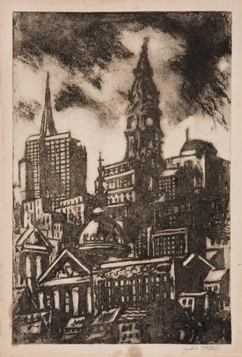 DOX THRASH (1892 - 1965) Philadelphia (View of Philadelphia with City Hall).