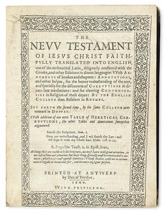 BIBLE IN ENGLISH.  The New Testament of Jesus Christ faithfully translated into English.  1600