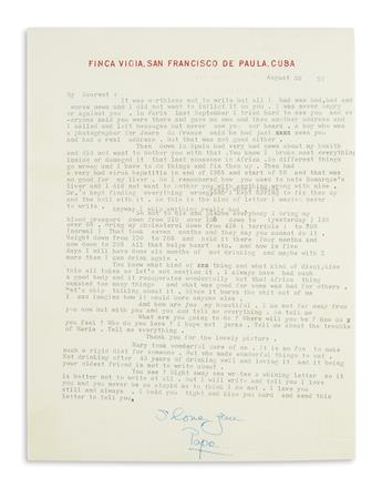 HEMINGWAY, ERNEST. Typed Letter Signed, I love you / Papa, to Marlene Dietrich (My Dearest),