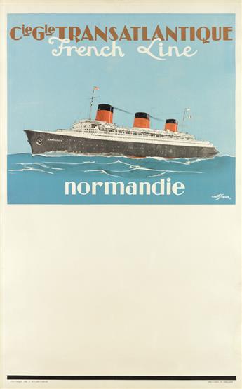 ALBERT SEBILLE (1874-1953). CIE GLE TRANSATLANTIQUE / FRENCH LINE / NORMANDIE. Circa 1939. 39x24 inches, 99x61 cm. Éditions de lAtlant
