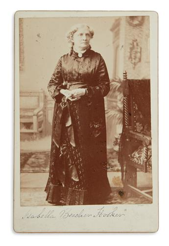 (SUFFRAGISTS.) ISABELLA BEECHER HOOKER. Photograph Signed, cabinet card full-length portrait by Bell, showing he...