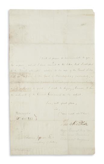 MIFFLIN, THOMAS. Letter Signed, Tho Mifflin, as Governor, to Secretary of State Thomas Jefferson,