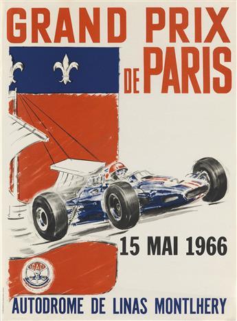 DESIGNER UNKNOWN. GRAND PRIX DE PARIS. 1966. 21x15 inches, 54x40 cm. Saint-Martin, Paris.