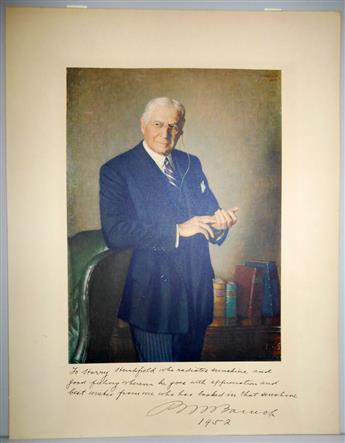 (BUSINESS.) BARUCH, BERNARD. Photograph Inscribed and Signed, BMBaruch, to humorist Harry Hershfield,