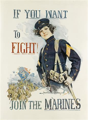 HOWARD CHANDLER CHRISTY (1873-1952). IF YOU WANT TO FIGHT! / JOIN THE MARINES. 1915. 40x30 inches, 103x76 cm.