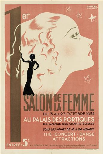 RAYMOND DUCATEZ (DATES UNKNOWN). 1ER SALON DE LA FEMME. 1934. 23x15 inches, 59x40 cm. A. Venandier, Paris.
