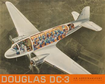 JEAN WALTHER (1910-1968). DOUGLAS DC - 3. 1938. 23x29 inches, 60x75 cm.