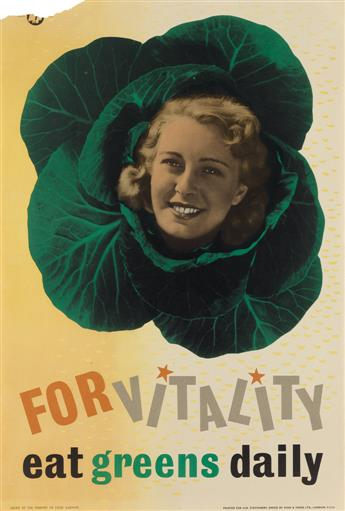 FREDERIC HENRI KAY HENRION (1914-1990). FOR VITALITY / EAT GREENS DAILY. Circa 1940s. 29x19 inches, 74x49 cm. Fosh & Cross Ltd., London