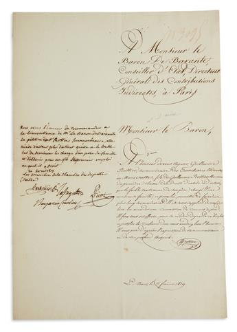 GILBERT DU MOTIER, MARQUIS DE LAFAYETTE. Endorsement Signed, Lafayette, in French: We have the honor to recom...