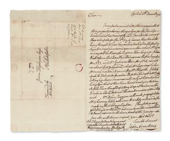 ARMSTRONG, JOHN. Autograph Letter Signed, to attorney James Tilghman,