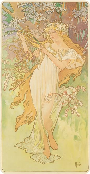 ALPHONSE MUCHA (1860-1939). [THE SEASONS.] Group of 4 decorative panels. 1896. Each approximately 41x23 inches, 106x59 cm. [F. Champeno