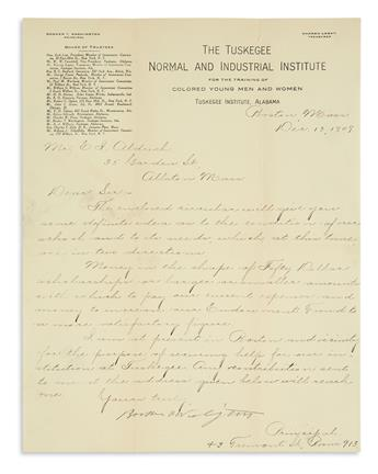 BOOKER T. WASHINGTON. Letter Signed, as Principal of The Tuskegee Institute, to E.I. Aldrich, sending a circular...