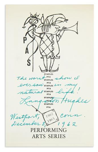 (LITERATURE.) Hughes, Langston. His critique, written on a theater program.