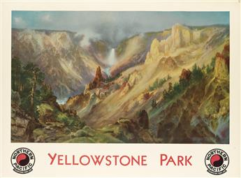 DAPRÈS THOMAS MORAN (1837-1926). YELLOWSTONE PARK / NORTHERN PACIFIC. 1924. 29x40 inches, 75x101 cm. Brown & Bigelow, St. Paul.
