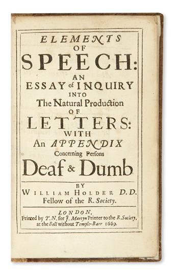 HOLDER, WILLIAM. Elements of Speech.  1669