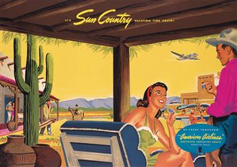 DESIGNER UNKNOWN. ITS SUN COUNTRY VACATION TIME AGAIN! / AMERICAN AIRLINES. 1946. 28x40 inches, 72x103 cm.