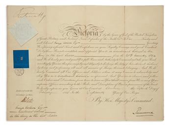 VICTORIA, QUEEN OF THE UK. Partly-printed Document Signed, VictoriaReg, appointing George Wilson Lieutenant Co...