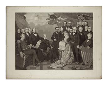 (PRINTS--1860 CAMPAIGN.) Sadd, H.S., engraver; after Matteson. Evolution of the print titled Union, showing the addition of Lincoln.