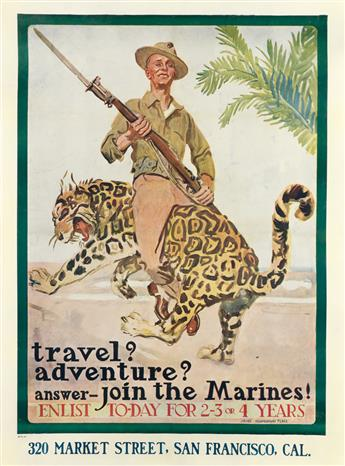 JAMES MONTGOMERY FLAGG (1870-1960). TRAVEL? ADVENTURE? ANSWER - JOIN THE MARINES! Circa 1918. 40x29 inches, 102x75 cm.