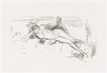 JAMES A. M. WHISTLER Nude Model, Reclining.