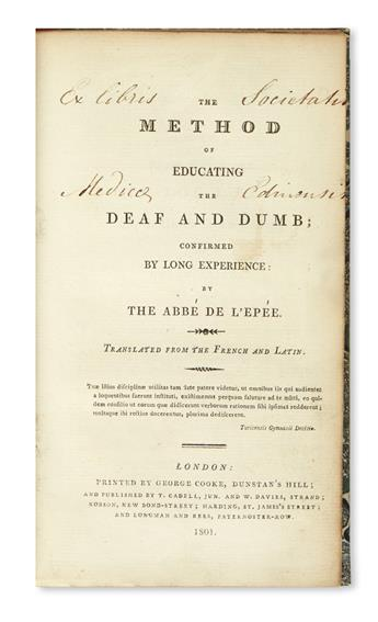 L'ÉPÉE, CHARLES-MICHEL DE, Abbé. The Method of Educating the Deaf and Dumb.  1801