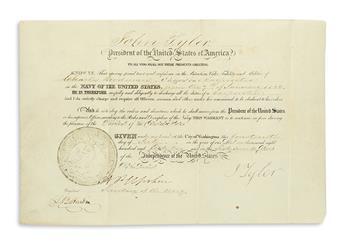 TYLER, JOHN. Partly-printed vellum Document Signed, J Tyler, as President, appointing Charles Bordman Carpenter in the Navy.